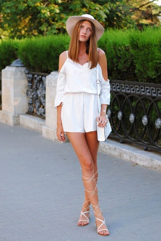yuliasi blogger romper jewels hat bag shoes jumpsuit