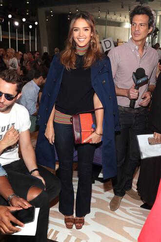 blouse coat jessica alba pants ny fashion week 2016 turtleneck purse bag
