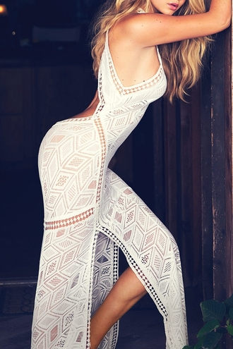 dress white sexy summer pattern open back long dress crochet maxi dress slit dress hot stylish fashion clothes style