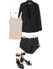 jestem kasia,blogger,jacket,top,shorts,shoes,blazer,black blazer,sandals,tank top,black shorts