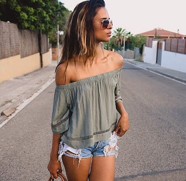 blouse top summer green cute off the shoulder bare shoulder boho summer outfits cut-out shirt
