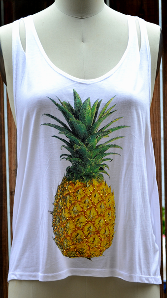 Tank Top Pineapple Studded White