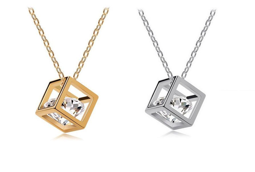 Fashion Hollow Out Cube Silver Gold Plated 6mm Cubic Zirconia Pendant Necklace | eBay