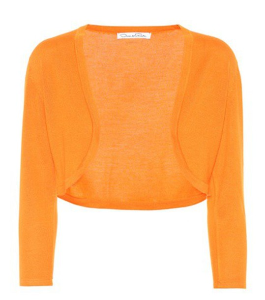 oscar de la renta cardigan cardigan silk orange sweater