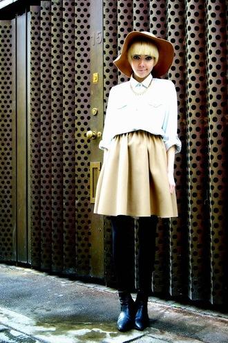 stella's wardrobe blogger denim shirt skater skirt chelsea boots floppy hat
