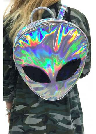 bag alien love backpack holographic bag holographic