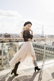 sarah loven,ready gypset go,blogger,top,skirt,shoes,bag,jacket,beret,boots,see through top,midi skirt,spring outfits