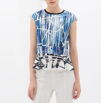top abstract tops choies peplum peplum top abstract abstract print abstract prints sleeveless sleeveless shirt sleeveless top sleeveless blouse blue black white summer top spring outfits spring top summer trend