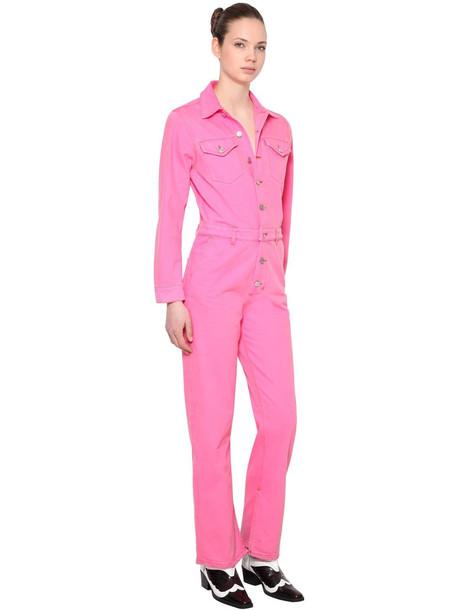 GANNI Washed Cotton Denim Jumpsuit in pink