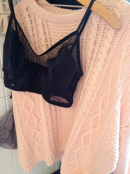 underwear black tank top tank top black sweater pink knit sweater black crop top pink knit sweater knit crop tops bra black bra see through cropped lingerie bustier jumper winter warm soft fall autumn christmas white cream knitted cosy cable knit black underwear transparent crop tops mesh panel
