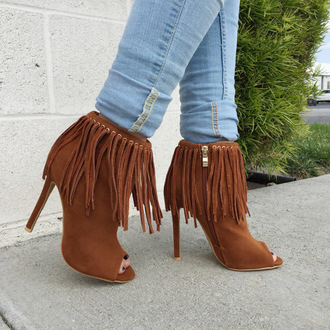 shoes cicihot fringe booties fashion chic girly sexy summer spring
