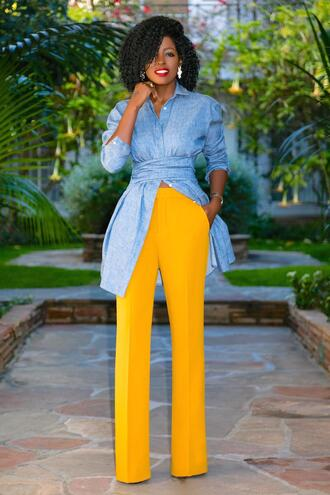 blogger top pants denim shirt yellow pants spring outfits