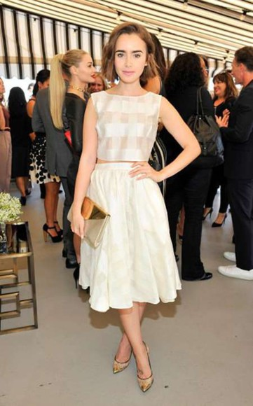 lily collins bag top white skirt