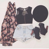 shirt,shorts,sweater,hat,shoes,roses,floral jacket,light blue jeans shorts,tank top,cardigan,black,crop tops,bustier,mesh top,top,floral cardigan,coachella,flowers,black top,black crop top,blouse,accessories,boots,clothes,cute,fashion,girl,grunge,hipster,jacket,jeans,look,lovely,outfit,pale,pretty,back to school,spring,style,summer,summer outfits