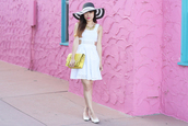 it's not her it's me,dress,jewels,hat,bag,eyelet dresss,cut-out dress,white dress,mini dress,short dress,summer dress,summer outfits,summer hat,striped hat,yellow bag,flats,ballet flats