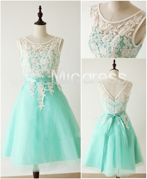 f59570ca95af Mint Lace Applique Short Organza Prom Dresses Wedding Bridesmaid Dresses  Homecoming Party Dresses Sweet 16 Dress on Storenvy