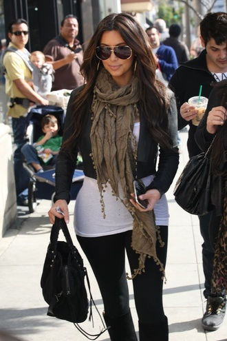 jacket black black crop top kim kardashian scarf leggings cute chic tank top bag sunglasses jewels