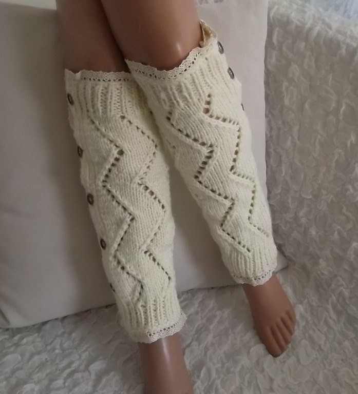 Chevron Zig Zag Handknit Ivory Leg Warmers Over the Knee Socks Boot Socks Boot Cuffs Birthday Gifts Women's Accessory Fashion Socks