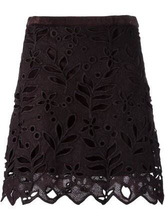 skirt embroidered floral brown