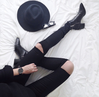 jeans tumblr black jeans denim black ripped jeans ripped jeans boots black boots ankle boots mid heel boots hat black hat fedora felt hat watch black watch