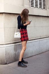 skirt,red,mini skirt,cute,plaid,black,purse,boots,chain purse,bag,shirt,tartan,pencil skirt
