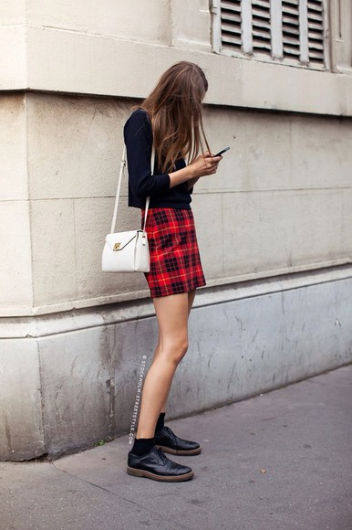 bag tartan pencil skirt skirt red mini skirt cute flannel black purse boots chain purse shirt