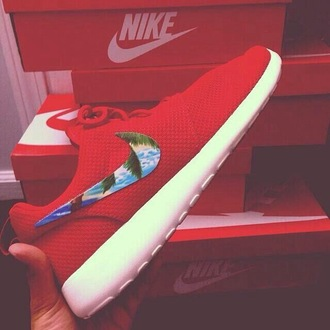 shoes nike red roshe runs red nike nike running shoes nike roshe run nike sneakers nice summer flowers fancy cool run