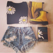 yellow shoes,boots,floral,ripped shorts,acid wash,black sweater,sweater,black,daisy,DrMartens,High waisted shorts,high waisted denim shorts,shoes,shorts,john green,yellow boots,dock martens,flowers,floral sweater,cute,t-shirt,yellow,high waisted,blouse
