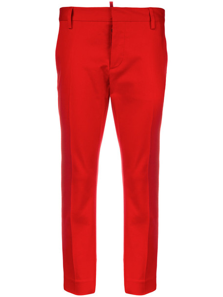 Dsquared2 cropped women spandex cotton red pants