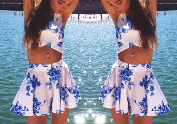 details skirt floral stylish crop tops