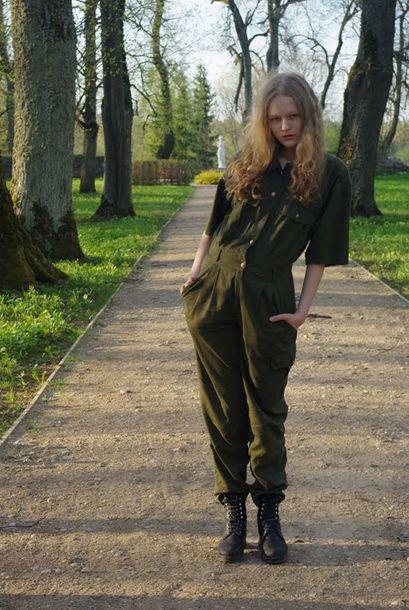 pants safari military style green camouflage jumpsuit