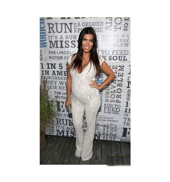 kourtney kardashian jewels jumpsuit white bag
