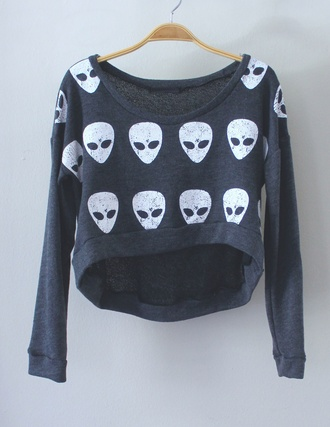 sweater aliens alien cute gre grey jumper long sleeves crop tops cropped sweater cold wi ter winter outfits punk grunge blouse tank top idk dark black skull t-shirt t-shirt soft grunge sweater top grey crop top shirt emoji print alien emoji