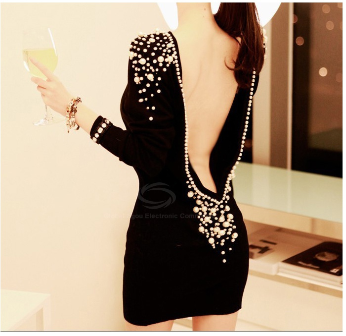 Luxury boat neck faux pearl embellished backless long sleeve black over hip club dress for women (black,one size)
