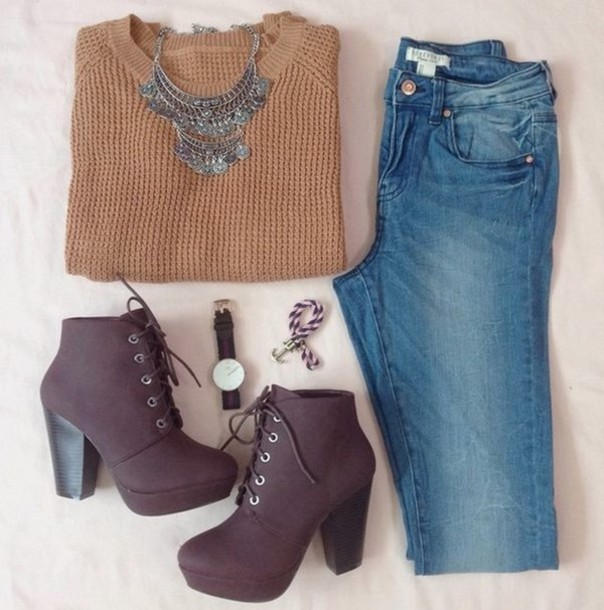 shoes high heels boots sweater jewels jeans