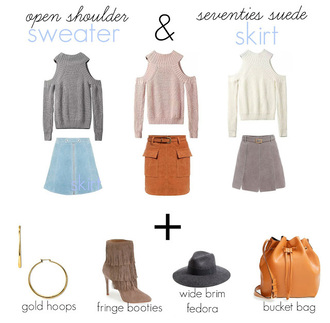 b soup blogger bucket bag cut-out shoulder top knitted sweater fall sweater suede skirt fall accessories sweater jewels