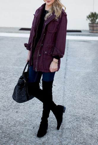 krystal schlegel blogger sweater jacket shoes jeans sunglasses parka handbag boots flat boots