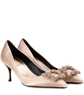 embellished pumps satin beige shoes