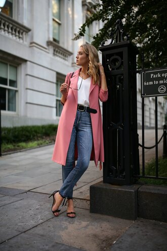 coat top tumblr pink coat trench coat white top denim jeans blue jeans sandals high heel sandals sandal heels fall outfits