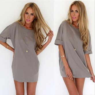 dress grey dress loose a-line chiffon chiffon dress short dress mini dress casual dress sexy dress party dress summer outfits girly fashion sexy one piece dress loose dress ring necklace charming hair accessory grey casual skirt a line dress