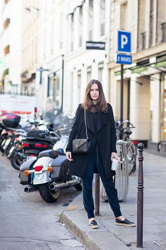 carolines mode blogger duster coat black coat quilted bag