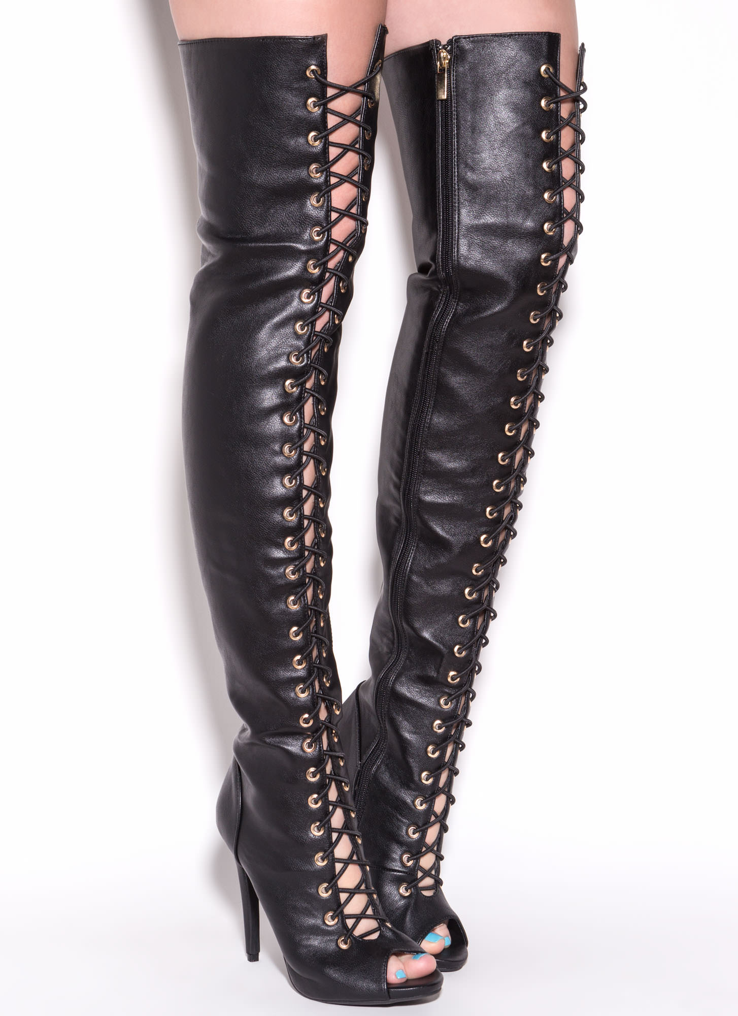 Tall Faux Leather Thigh-High Boots BLACK - GoJane.com