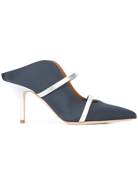 women pumps leather blue silk shoes