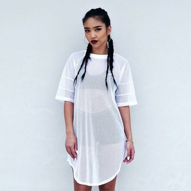 Dress white white top oversized shirt mesh top casual for Sporty t shirt dress