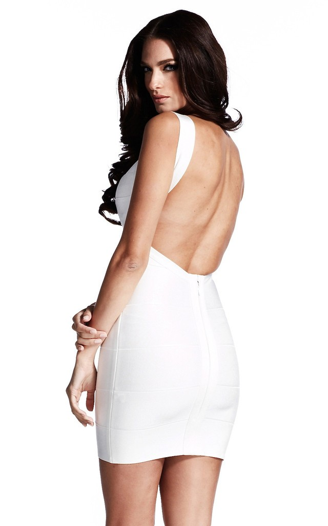 Bqueen White Backless Bandage Dress H612