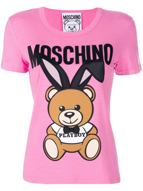 Moschino t-shirt shirt t-shirt bear women purple pink top
