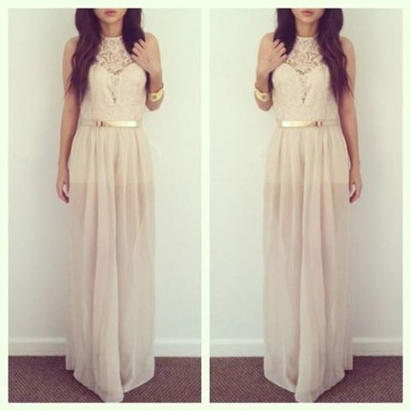 dress beige dress maxi dress dentelle beige nude dress