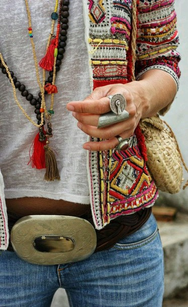 jacket hippie chic hippie bling accessory yellow jewels embroidered tribal pattern belt