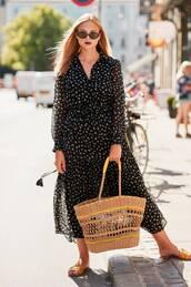dress,midi dress,floral dress,long sleeve dress,slide shoes,sunglasses,v neck dress