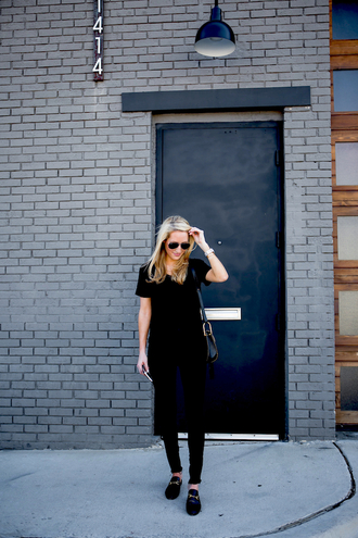 krystal schlegel blogger bag black dress shoulder bag aviator sunglasses black flats
